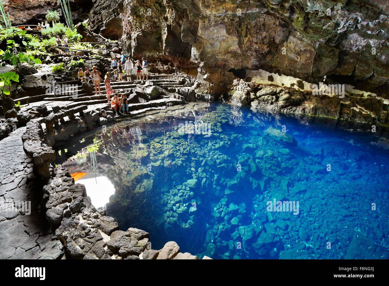 Lanzarote island jameos del aqua lake in volcanic cave canary stock photo royalty free image