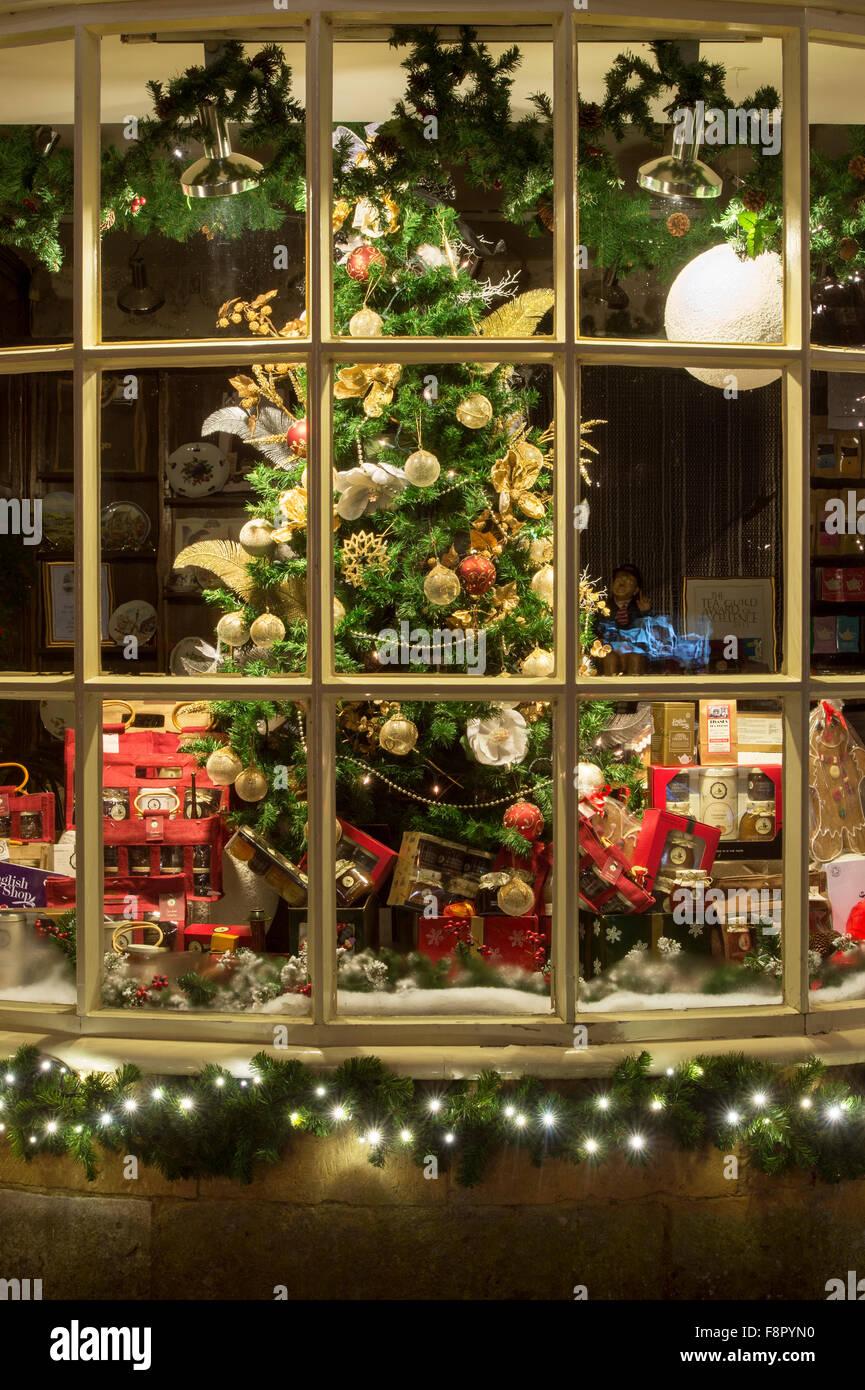 Broadway tea rooms christmas tree shop display window at