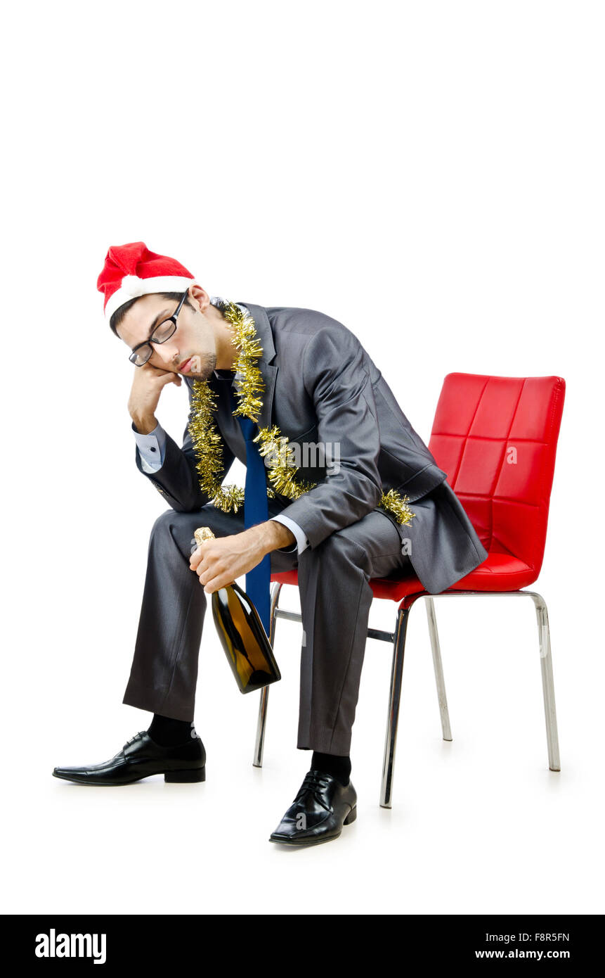 Drunk office worker after christmas party Stock Photo, Royalty ...
