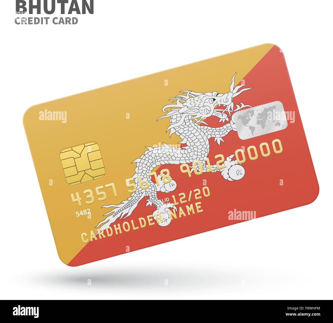 Credit card with Bhutan flag background for bank, presentations ...