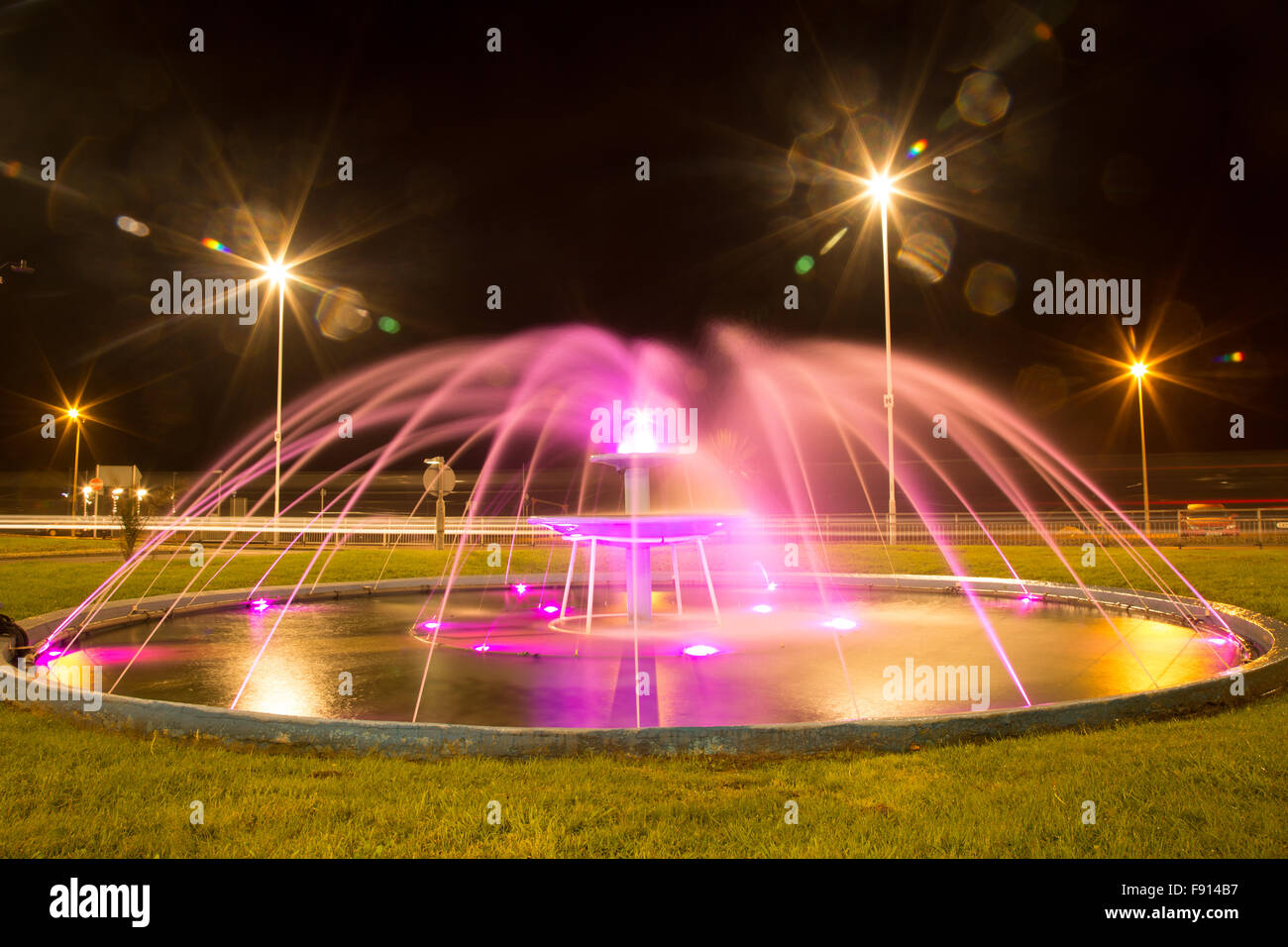 Water Lamps Long Exposure Water Feature Fountain Pink Lights Starburst Lamps