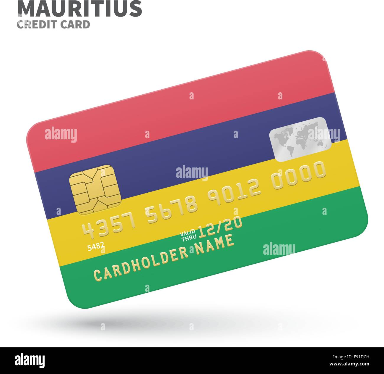 Credit card with Mauritius flag background for bank, presentations ...