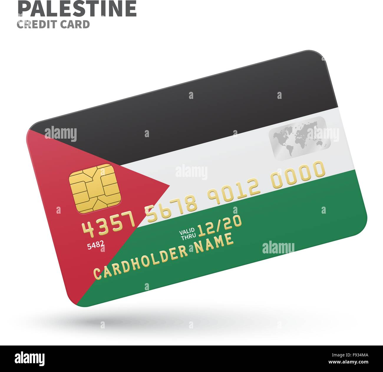 Credit card with Palestine flag background for bank, presentations ...