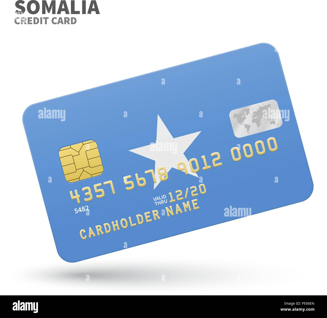 Credit card with Somalia flag background for bank, presentations ...