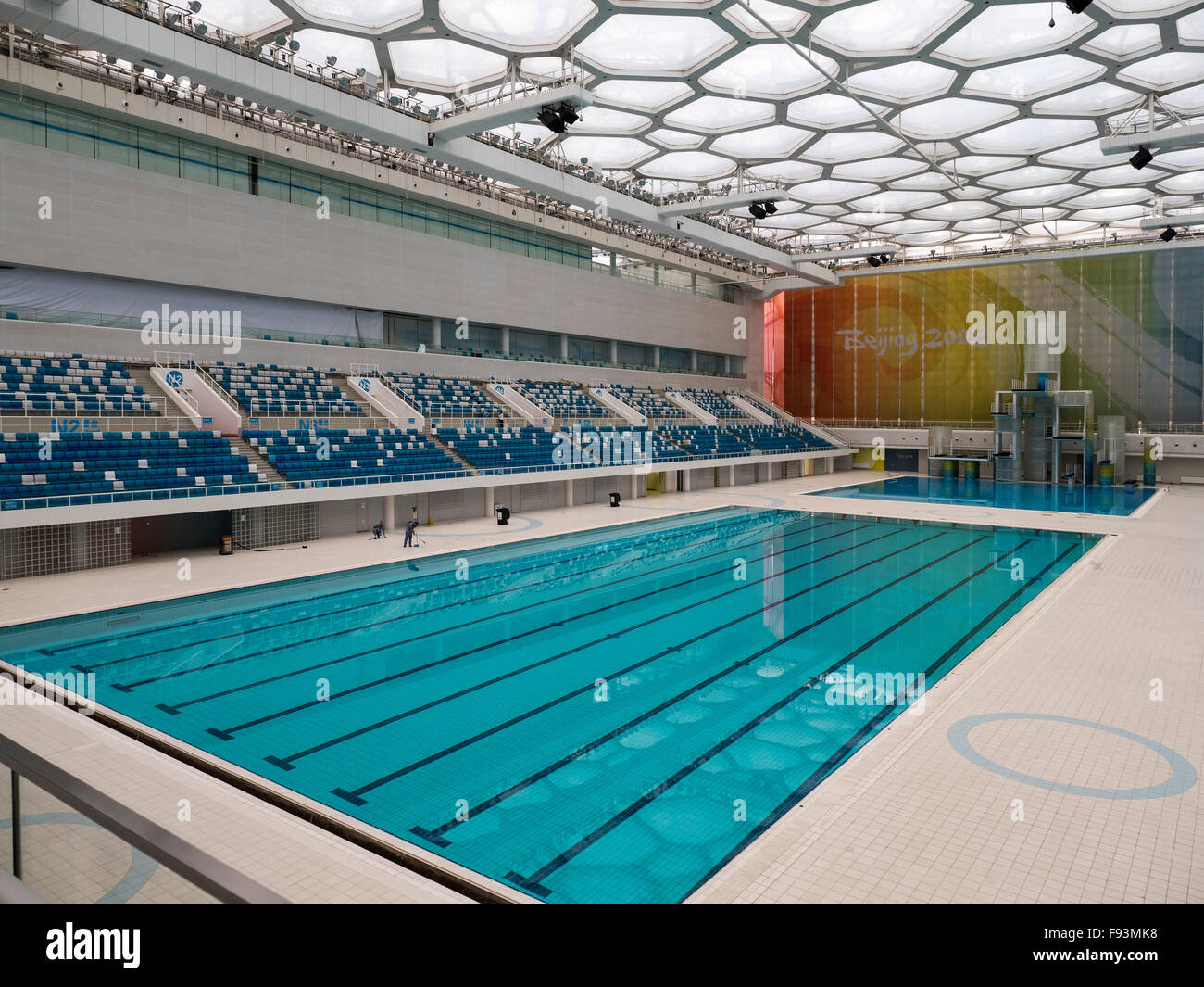 Indoor swimming pool water cube at olympic center beijing china stock photo royalty free for Beijing swimming pool olympics