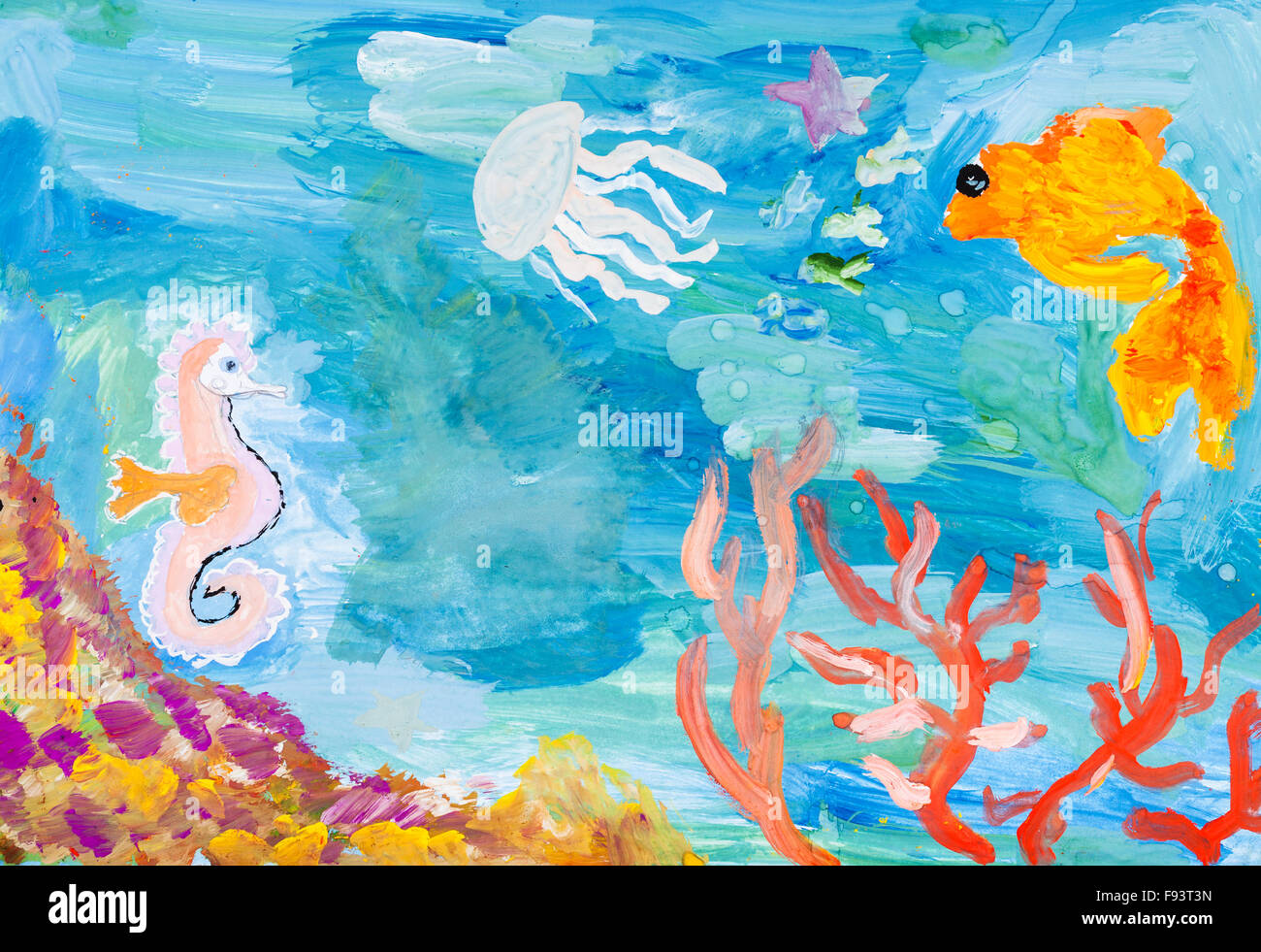 children painting - underwater world of the coral reef by ...
