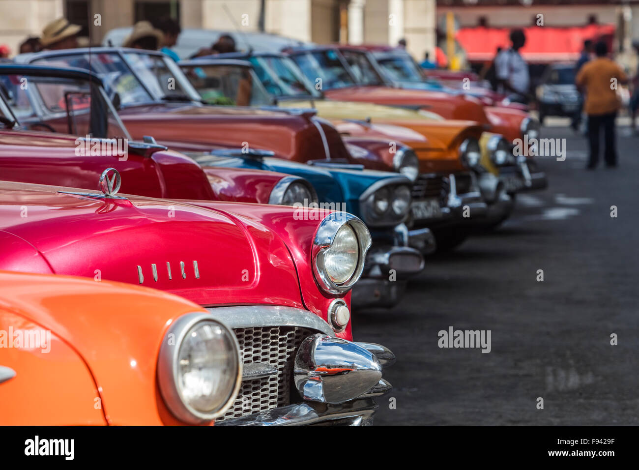 A Row Of Classic Cars In Old Havana Cuba Stock Photo Royalty