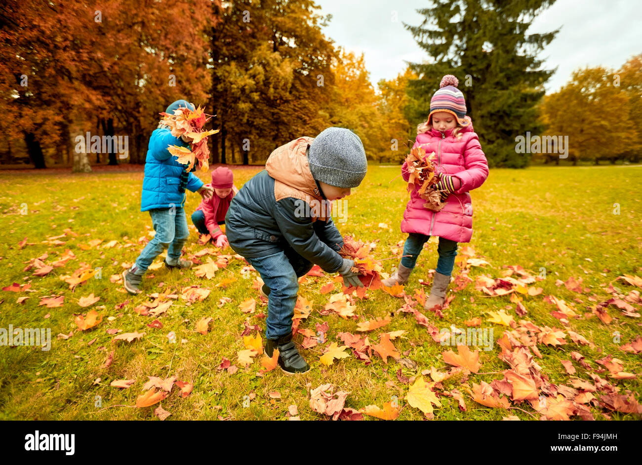 Group Of Children Collecting Leaves In Autumn Park Stock