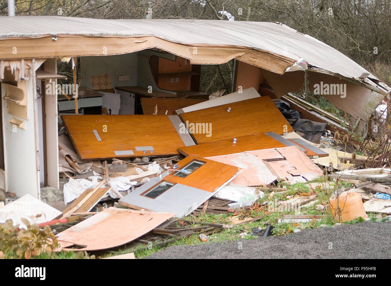Smashed Up Mobile Home Homes Caravan Caravans Destroyed Wrecked Bad  Accommodation Holiday Rental Unfit Shabby Site Sites Quality