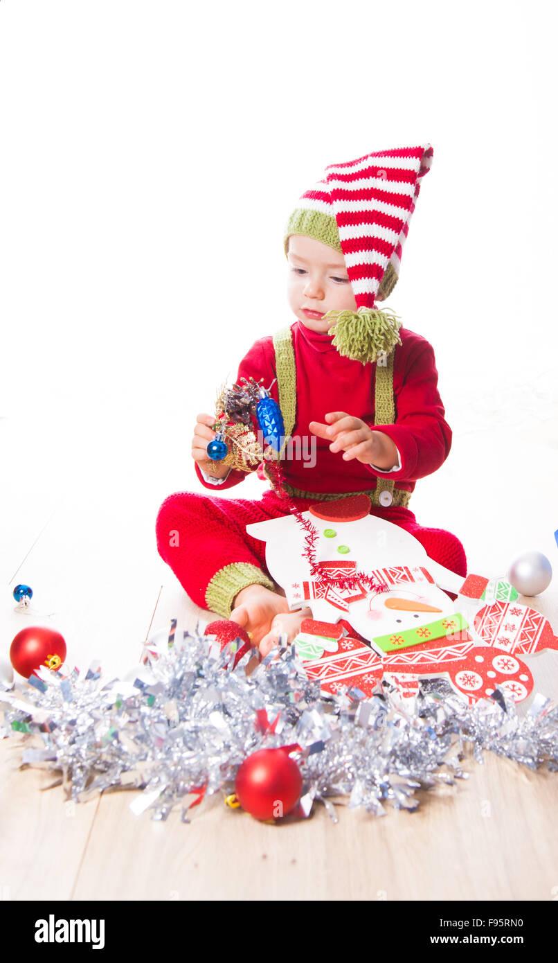 2 year old baby boy Christmas shooting in studio Stock Photo ...