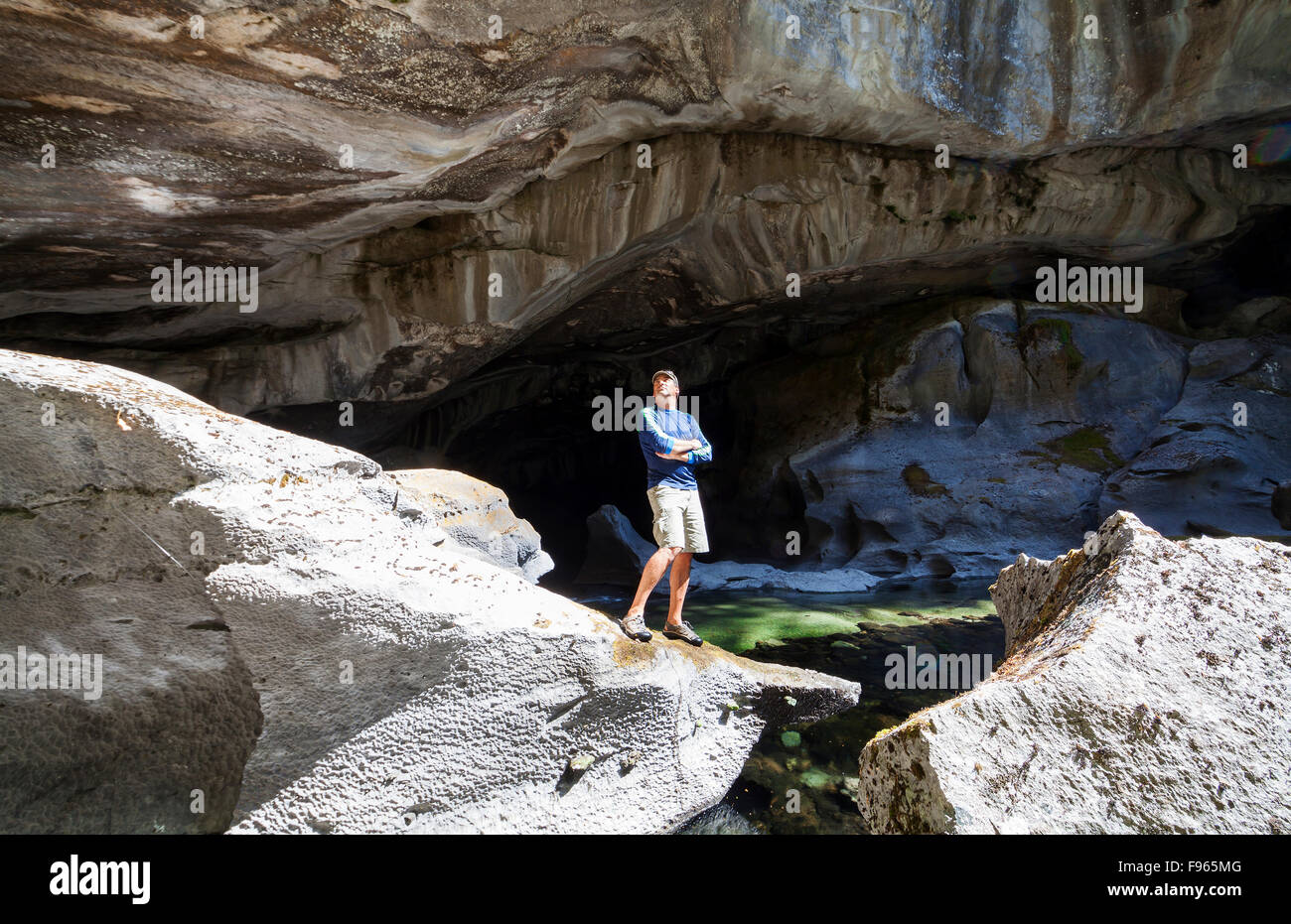 A Large Cavern Dwarfs Amature Adult Who Is Visiting The Little ...