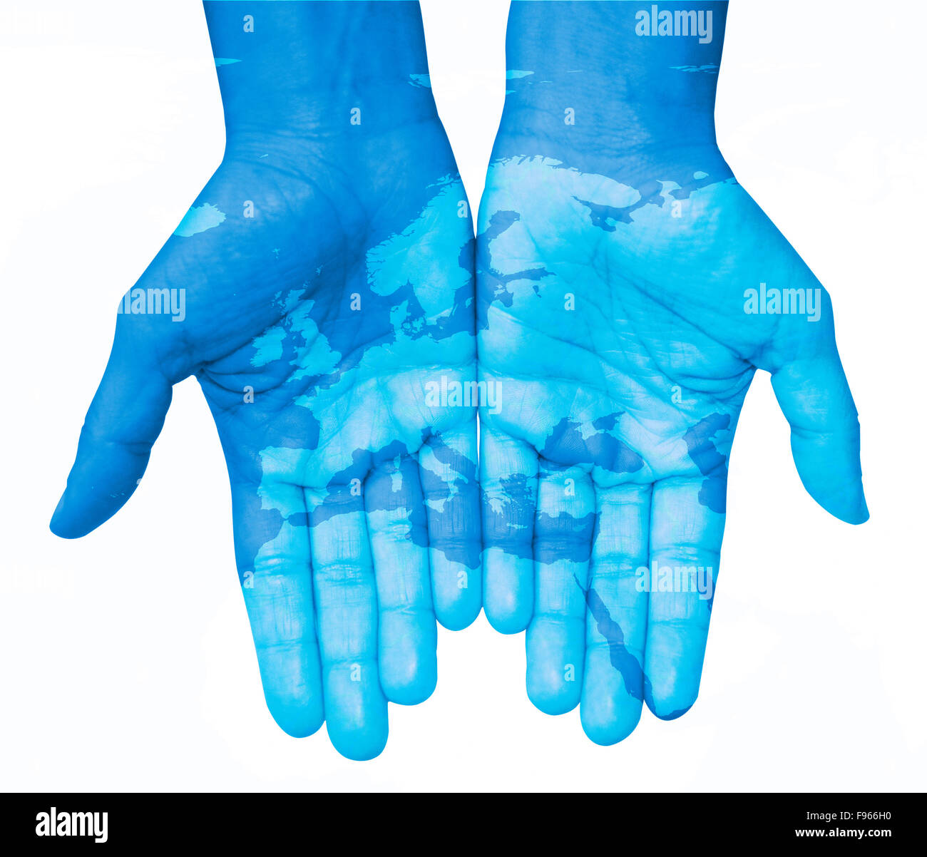 Hands with europe map of europe drawn the world in your hands hands with europe map of europe drawn the world in your hands white background gumiabroncs Images