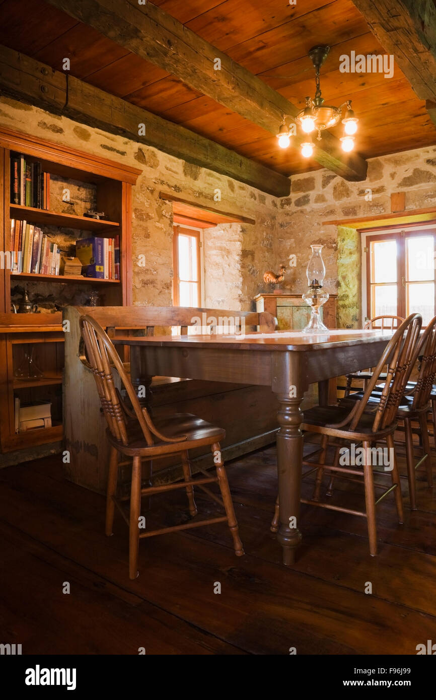 Antique wooden dining table - Antique Wooden Dining Table And Chairs In The Dining Room Inside An Old Circa 1850 Cottage Style Fieldstone Home Quebec Canada