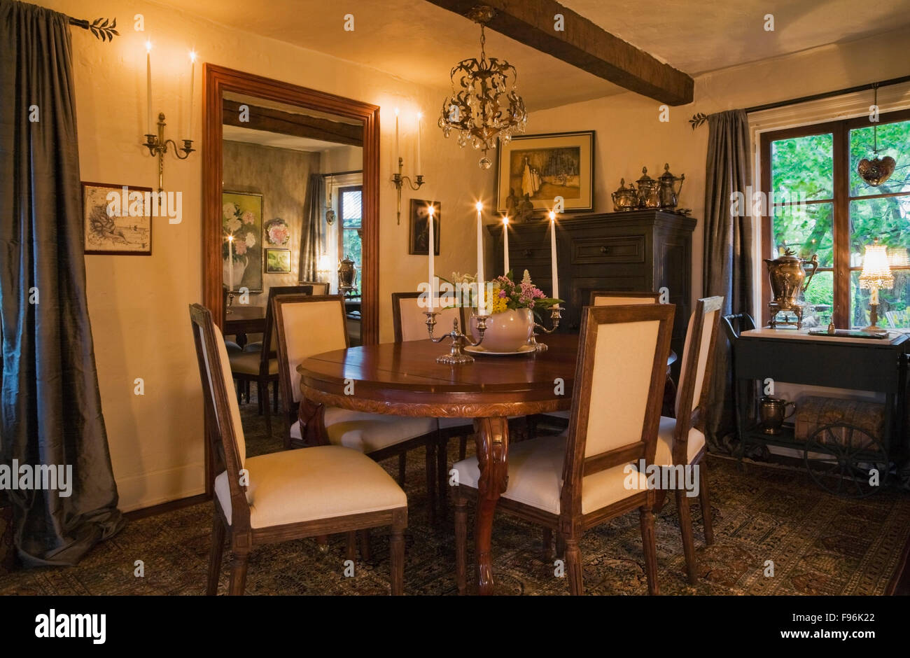 Oval dining room table and chairs