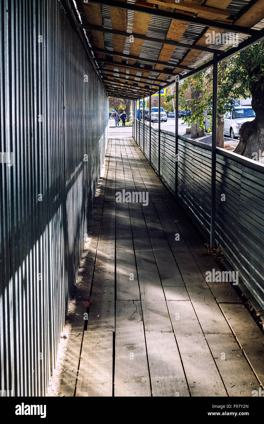 Covered Walkway Construction : Pedestrian walkway in ufa russia provides