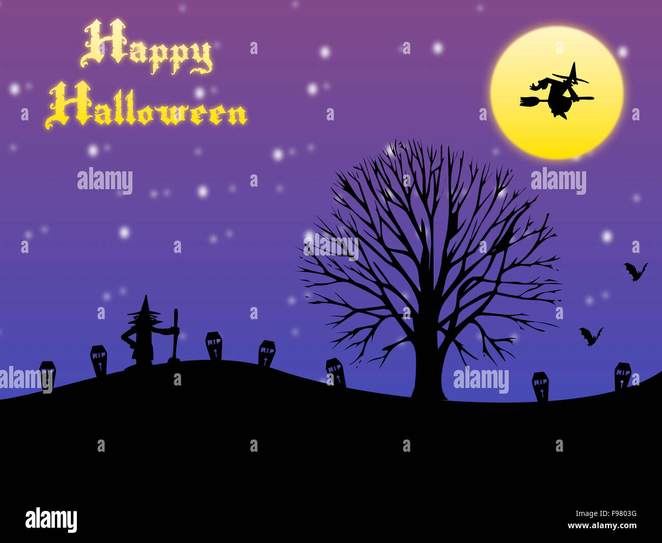Happy Halloween Card With Moon And Bats , Witches And A Tree