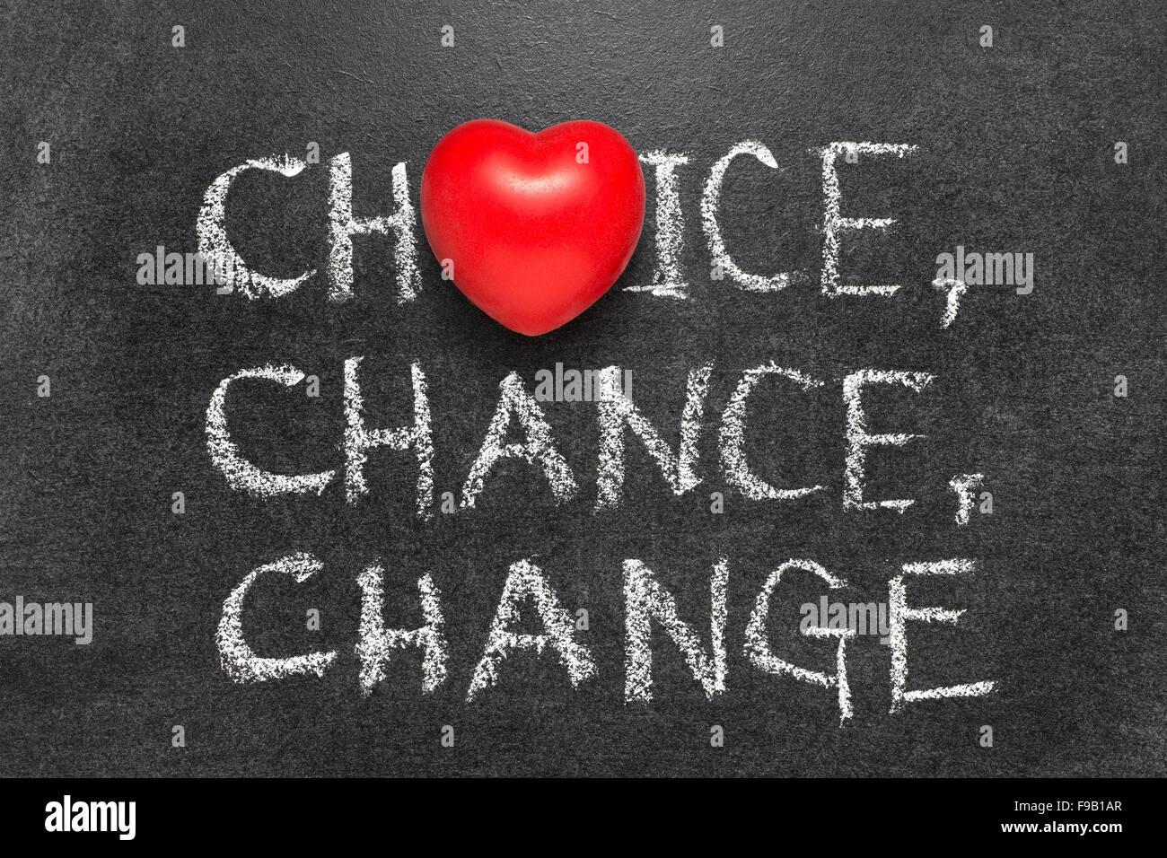 Choice chance change words handwritten on blackboard with heart choice chance change words handwritten on blackboard with heart symbol instead o biocorpaavc