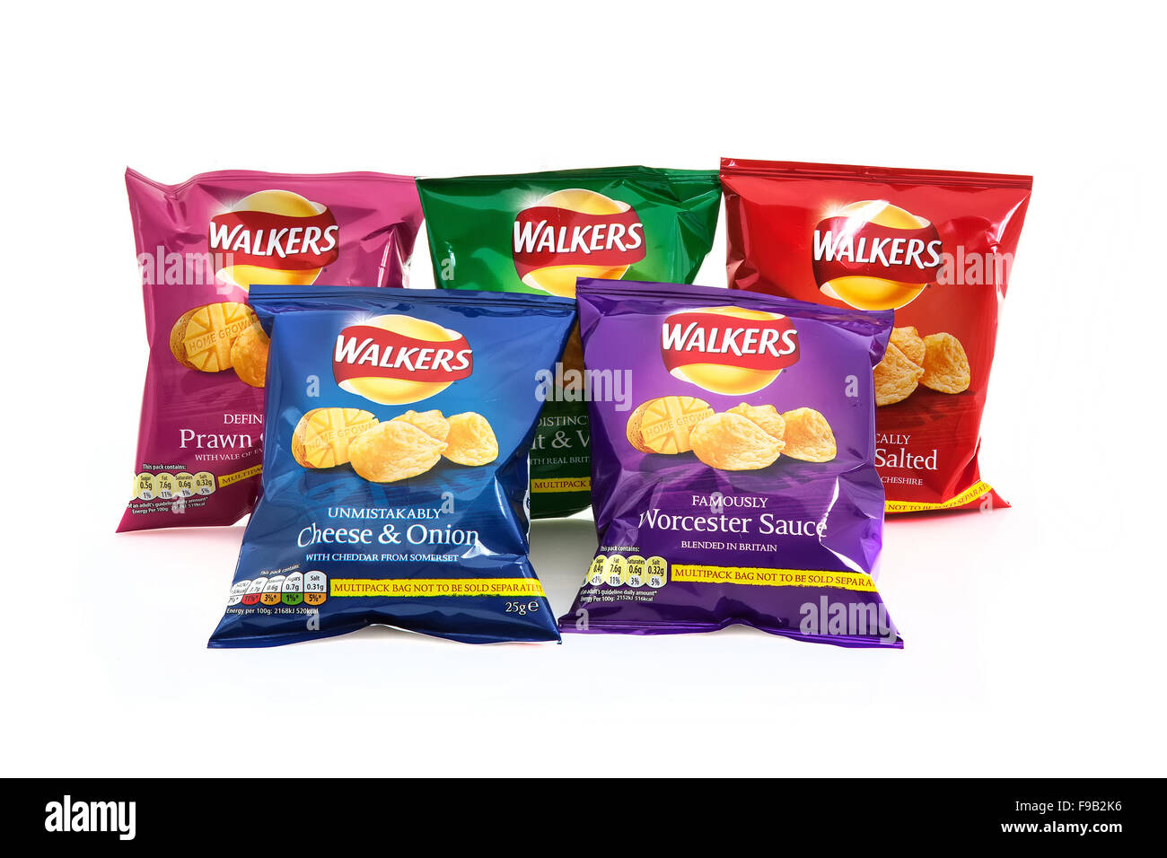 5 Packets of Walkers Crisps isolated on a white background ...