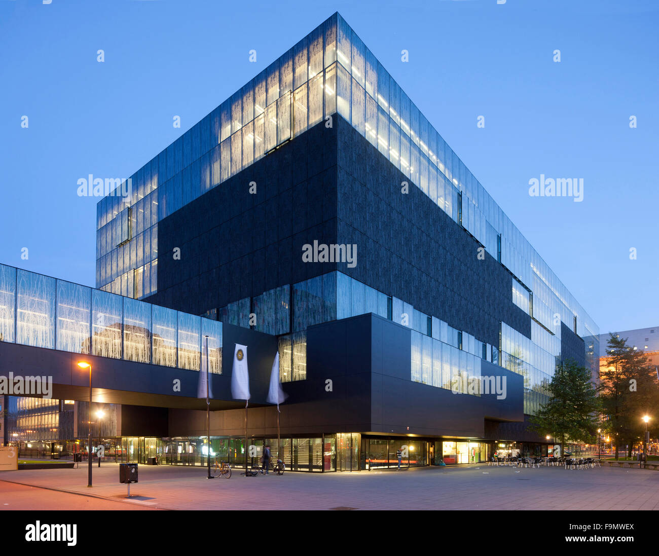 University Library Utrecht The Exterior Of Building View At Night With Entrance