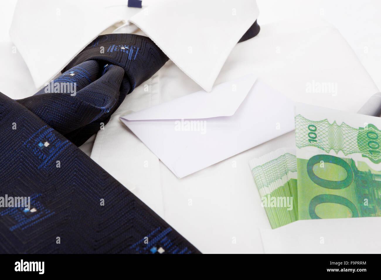 Shirt design envelope - Dress Shirt With Blue Neck Tie Hundred Eur Banknotes With Envelope And Pen In Pocket