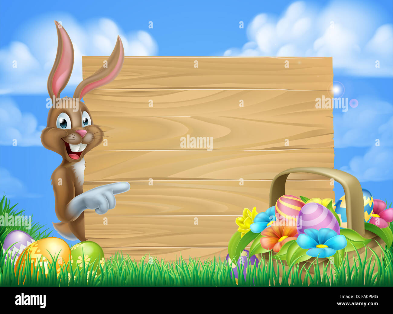 Cartoon Easter Background Of Easter Bunny And Easter