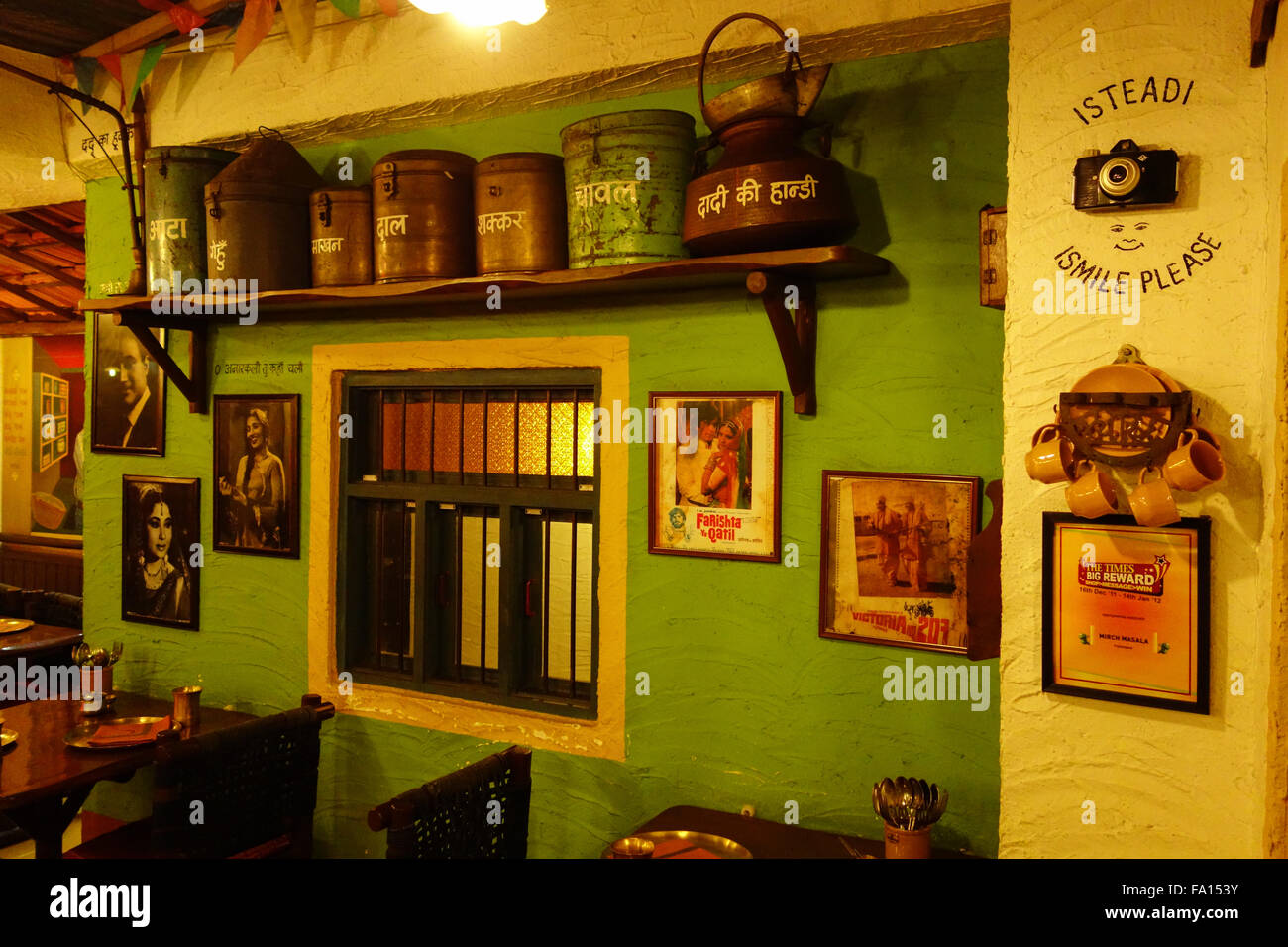 "classic bollywood themed traditional interior decor at ""mirch"