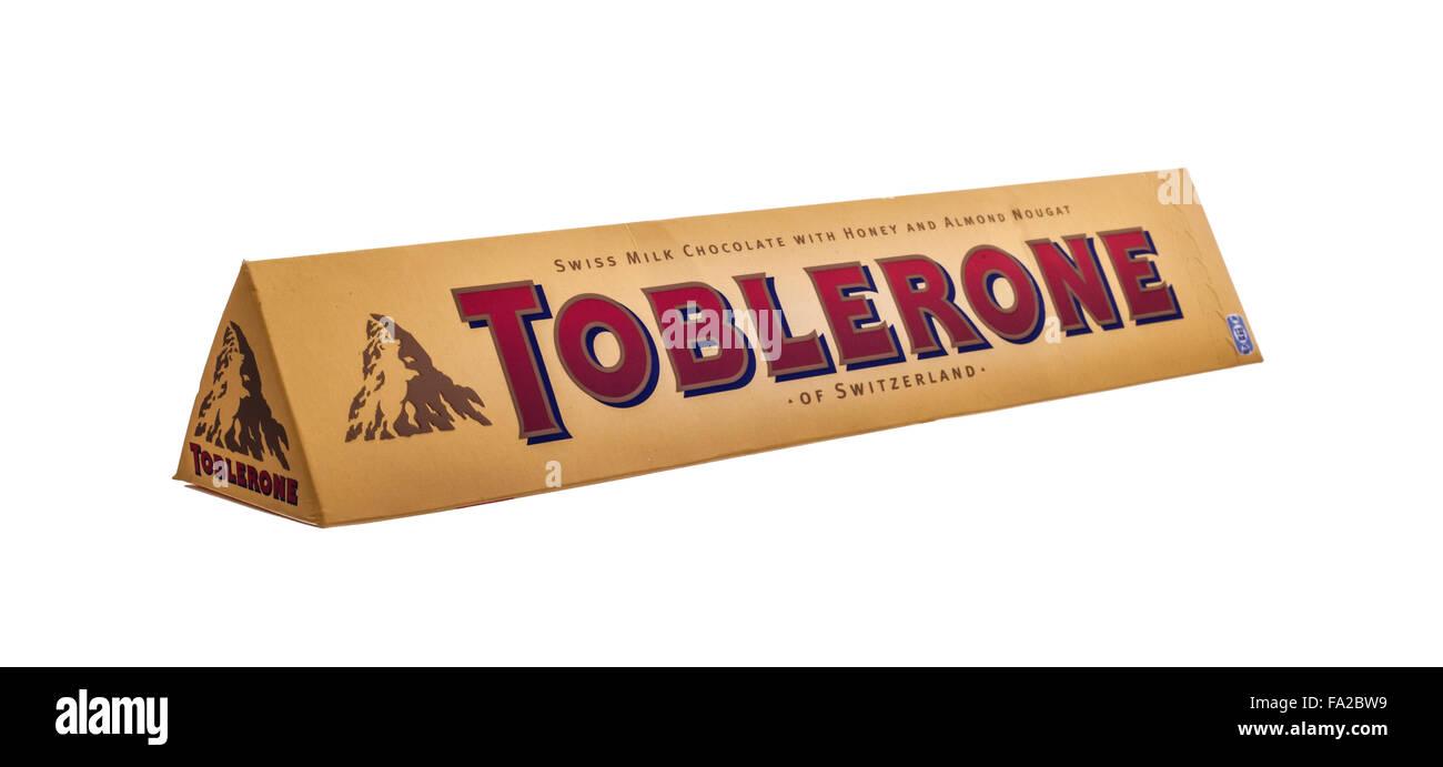 Large Toblerone chocolate bar on white background Stock Photo ...