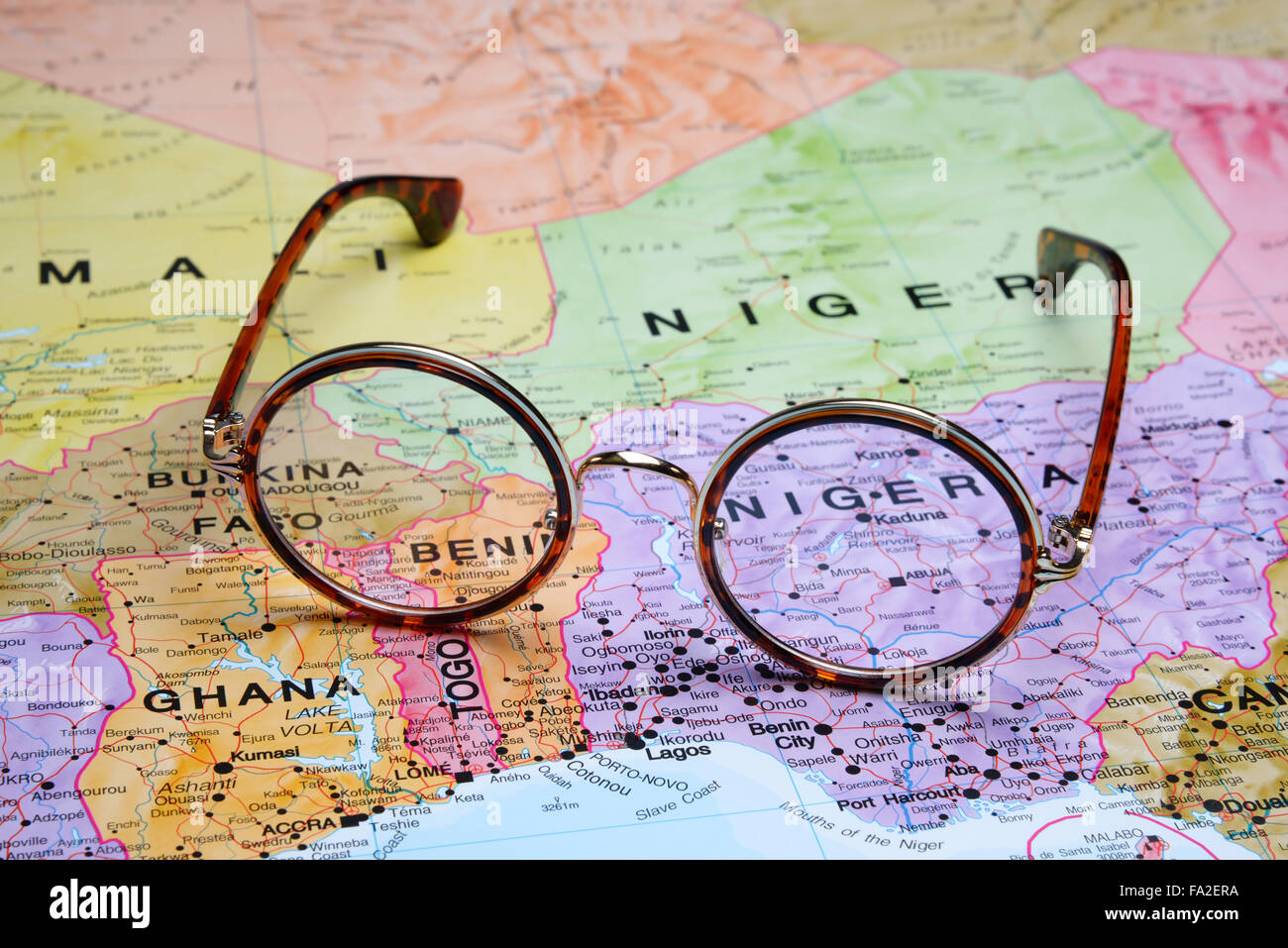 Glasses On A Map Abuja Stock Photo Royalty Free Image - abuja map