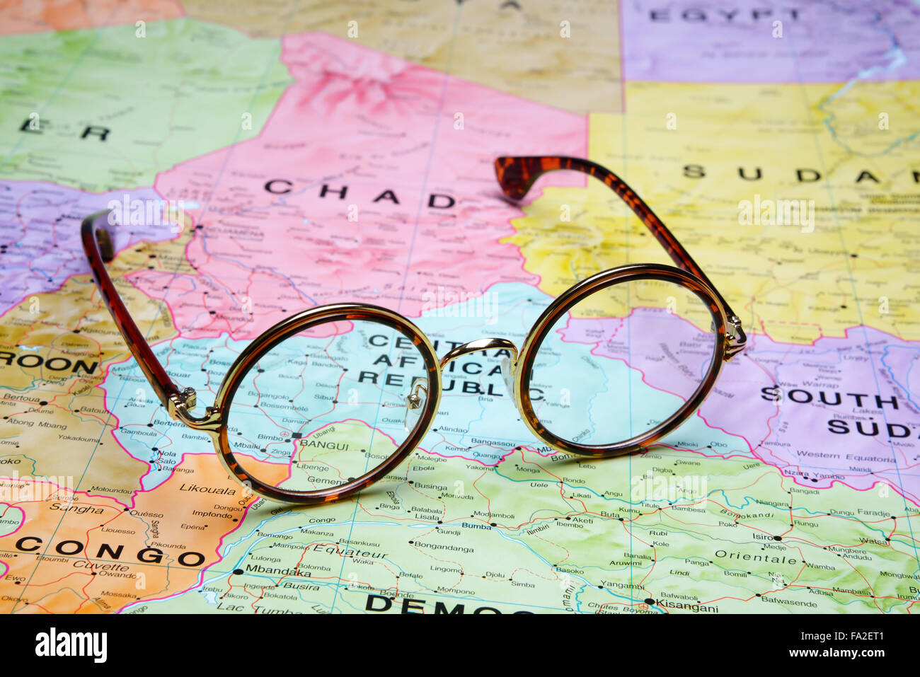 Glasses on a map Bangui Stock Photo Royalty Free Image 92253953