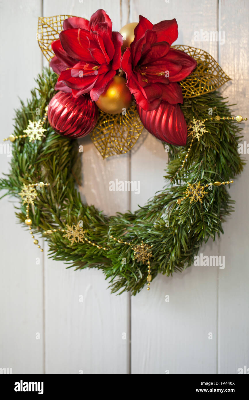 Material: candle, garland, artificial Christmas flowers on the ...