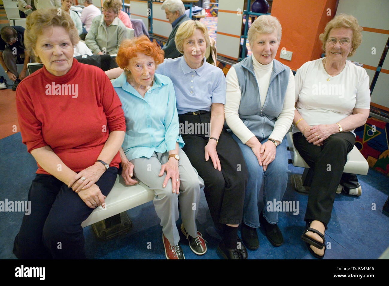 Group of older women at the ten pin bowling alley Stock ...