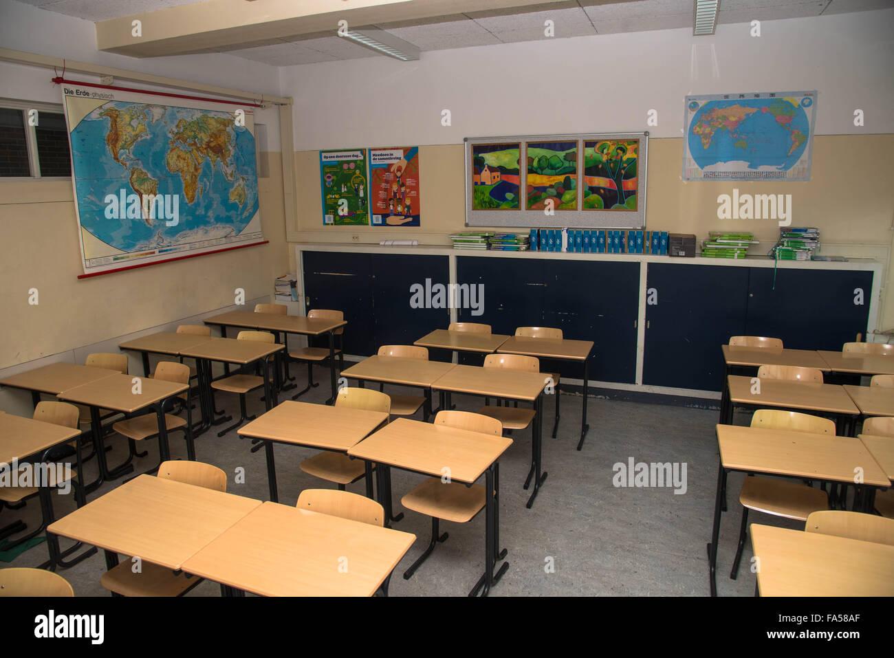 Empty High School Classroom