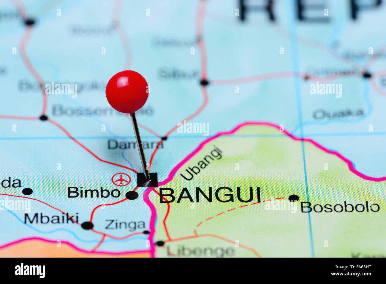 Bangui pinned on a map of Africa Stock Photo 92332964 Alamy