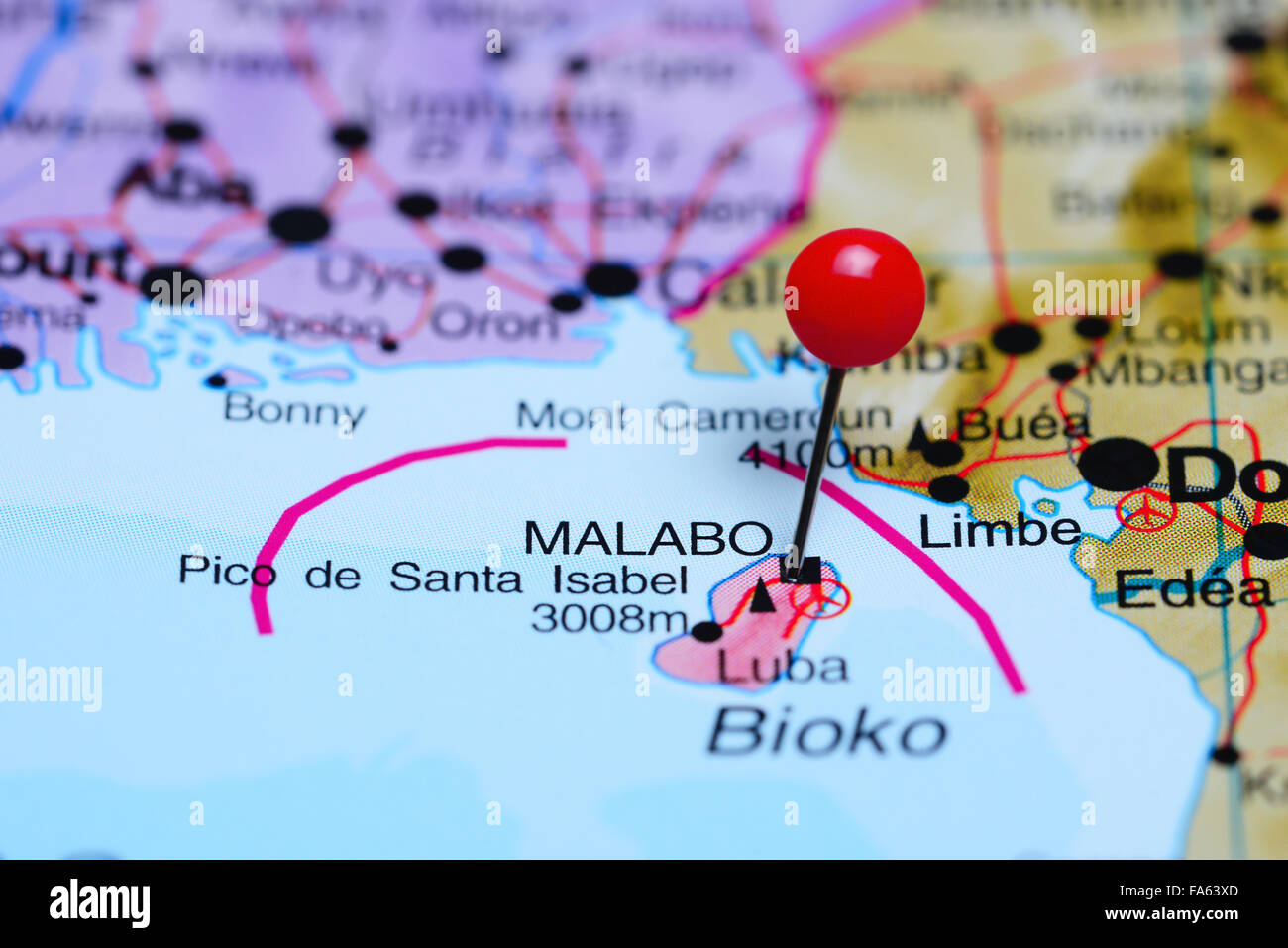 Malabo pinned on a map of Africa Stock Photo Royalty Free Image