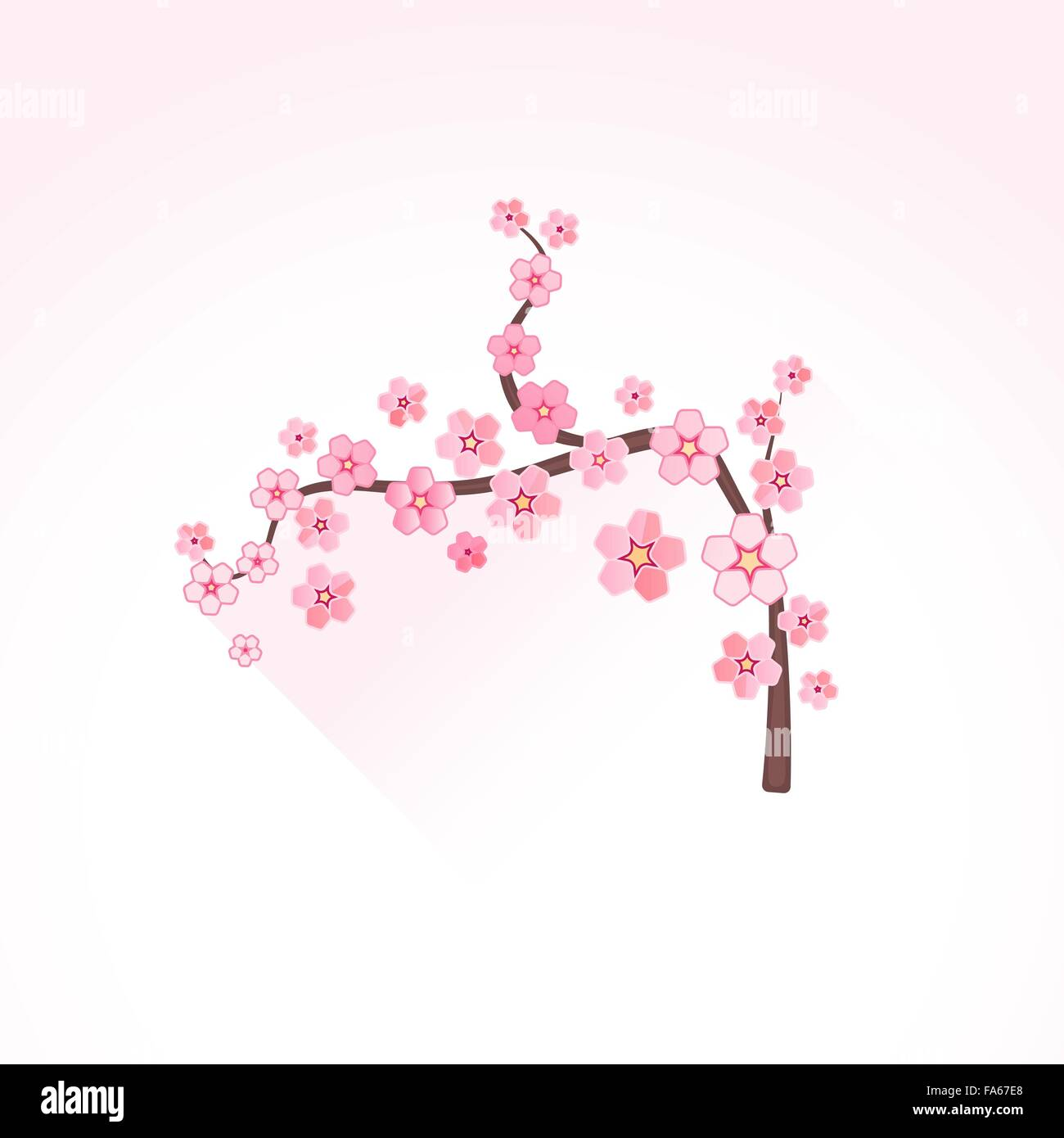 vector pink color flat design japan cherry blossom sakura branch ...