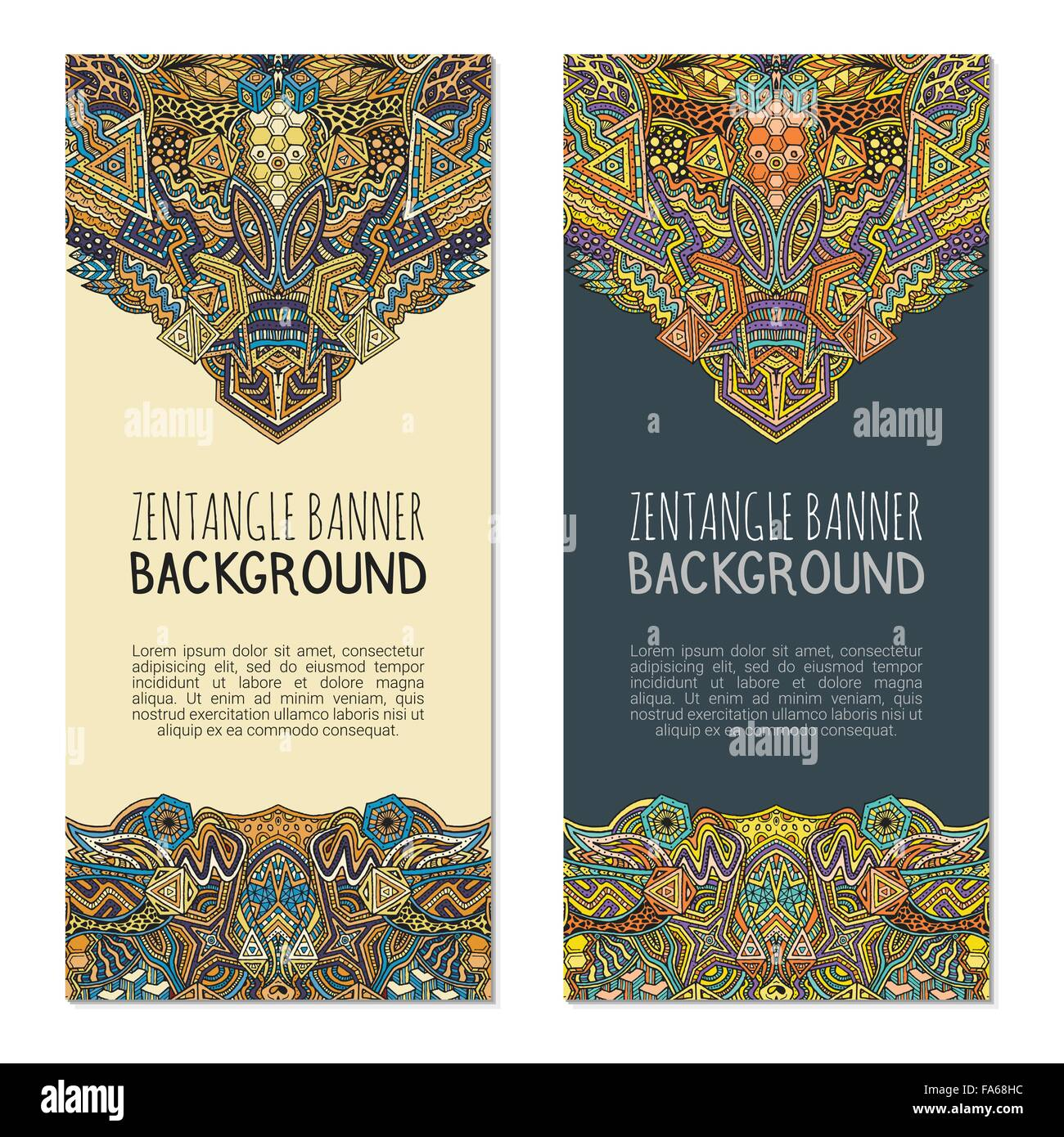 vector colored light and dark abstract zentangle design vertical banners templates isolated on white background