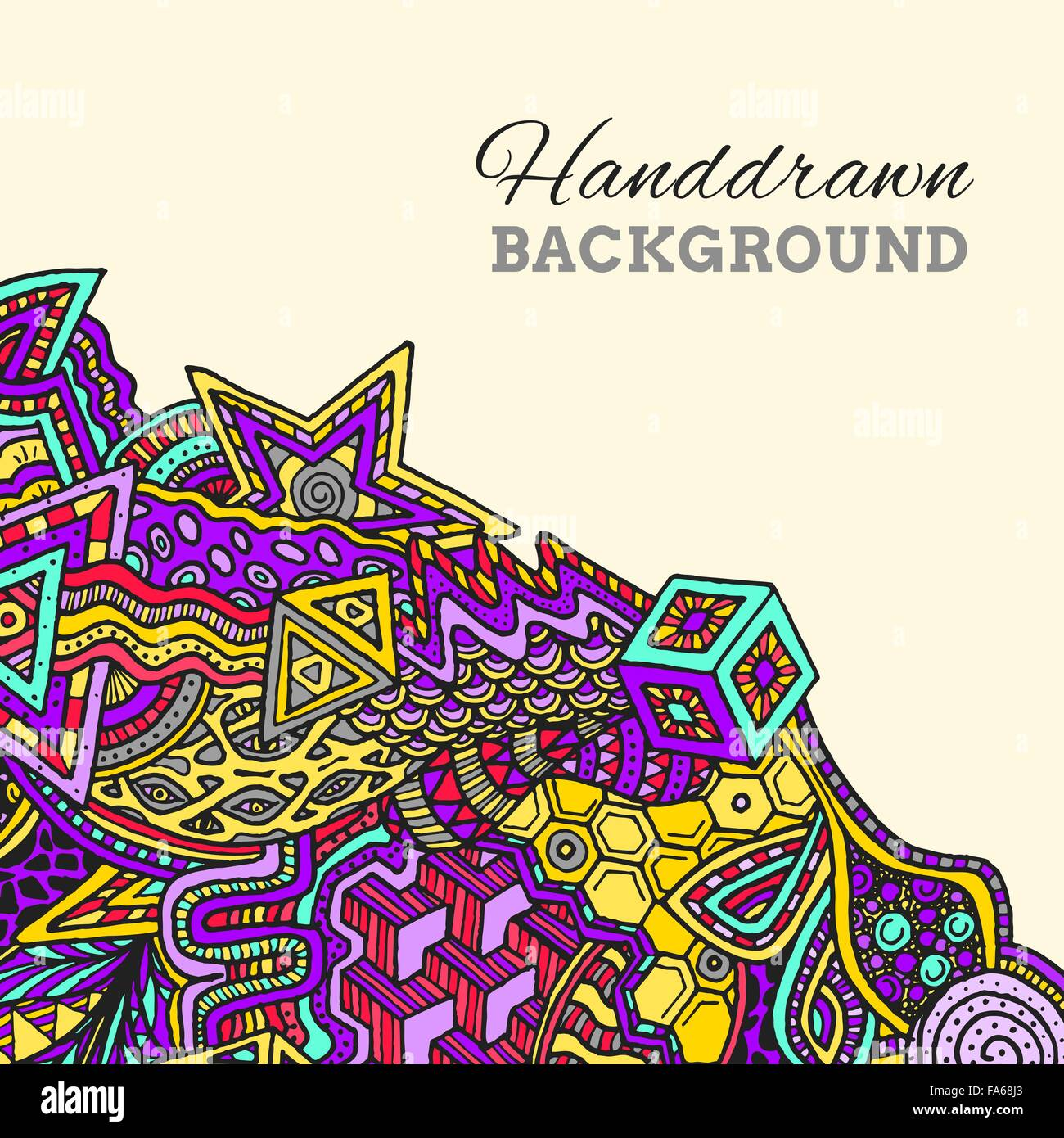 vector violet yellow color abstract zentangle hand drawn doodle background illustration on light background