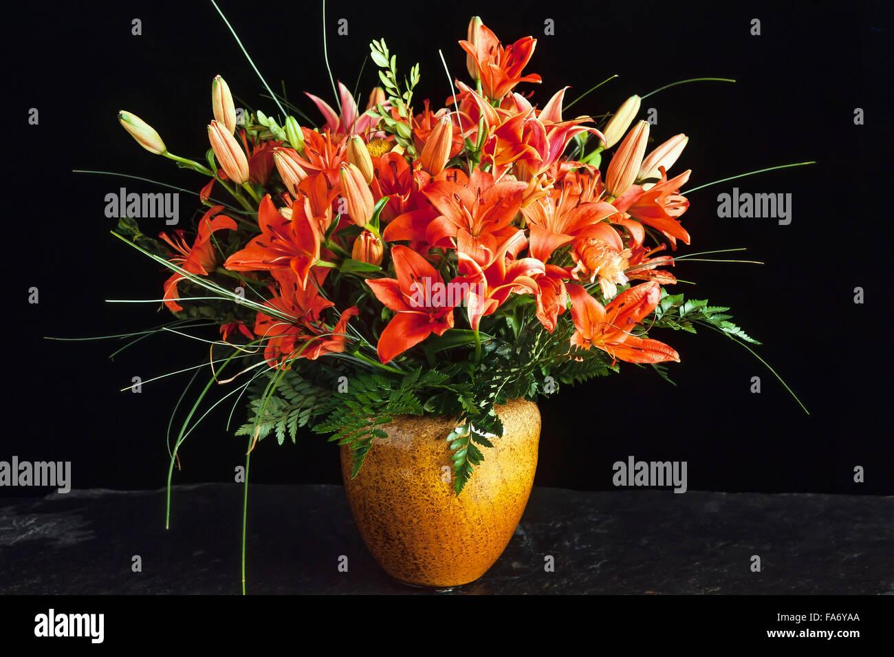Benguet lilies lilium philippinense in vase bouquet of flowers benguet lilies lilium philippinense in vase bouquet of flowers black background reviewsmspy