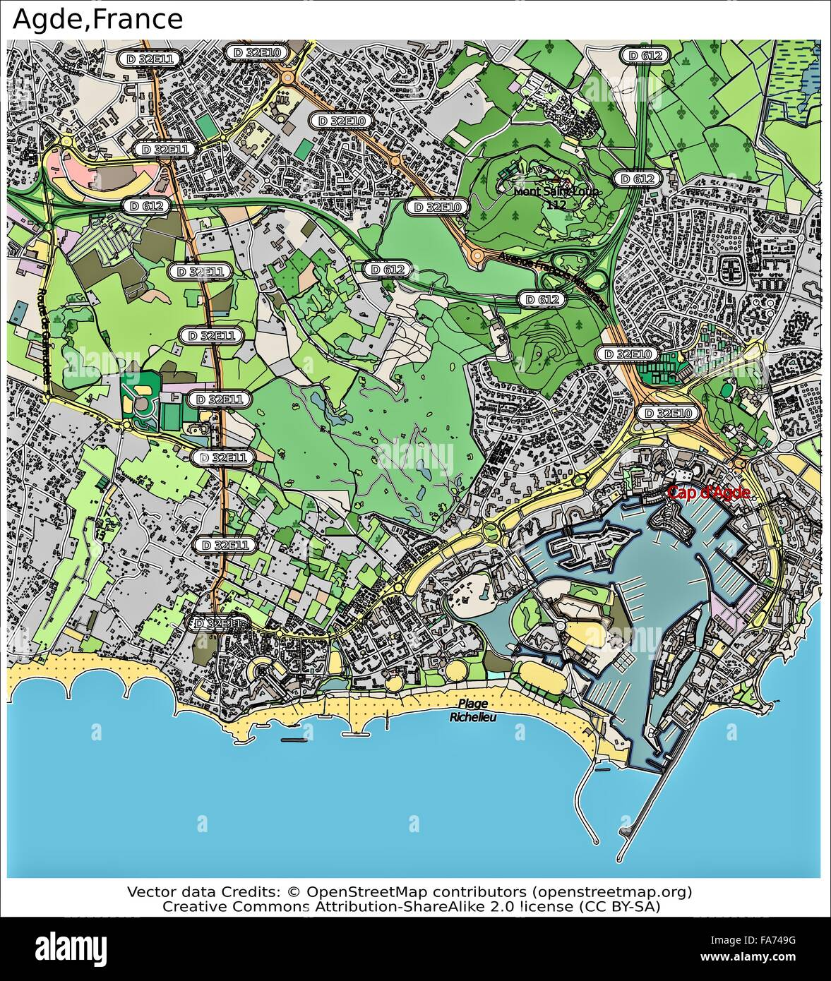 Agde France location map Stock Photo Royalty Free Image 92355468