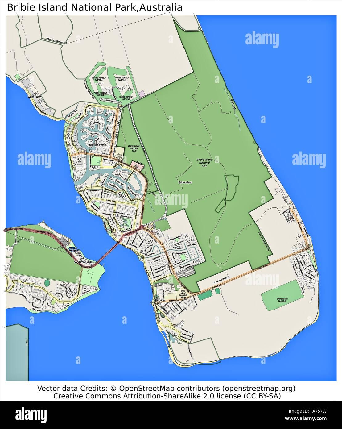 Bribie Island National Park Australia Location Map Stock Photo - National parks locations map