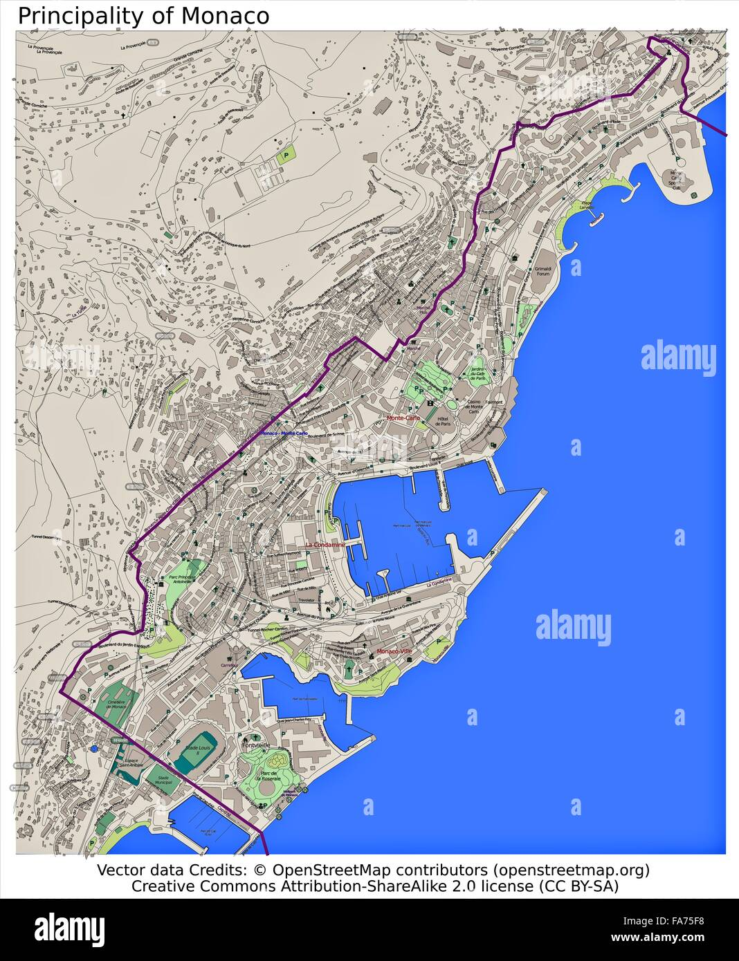 Monaco Principality location map Stock Photo Royalty Free Image