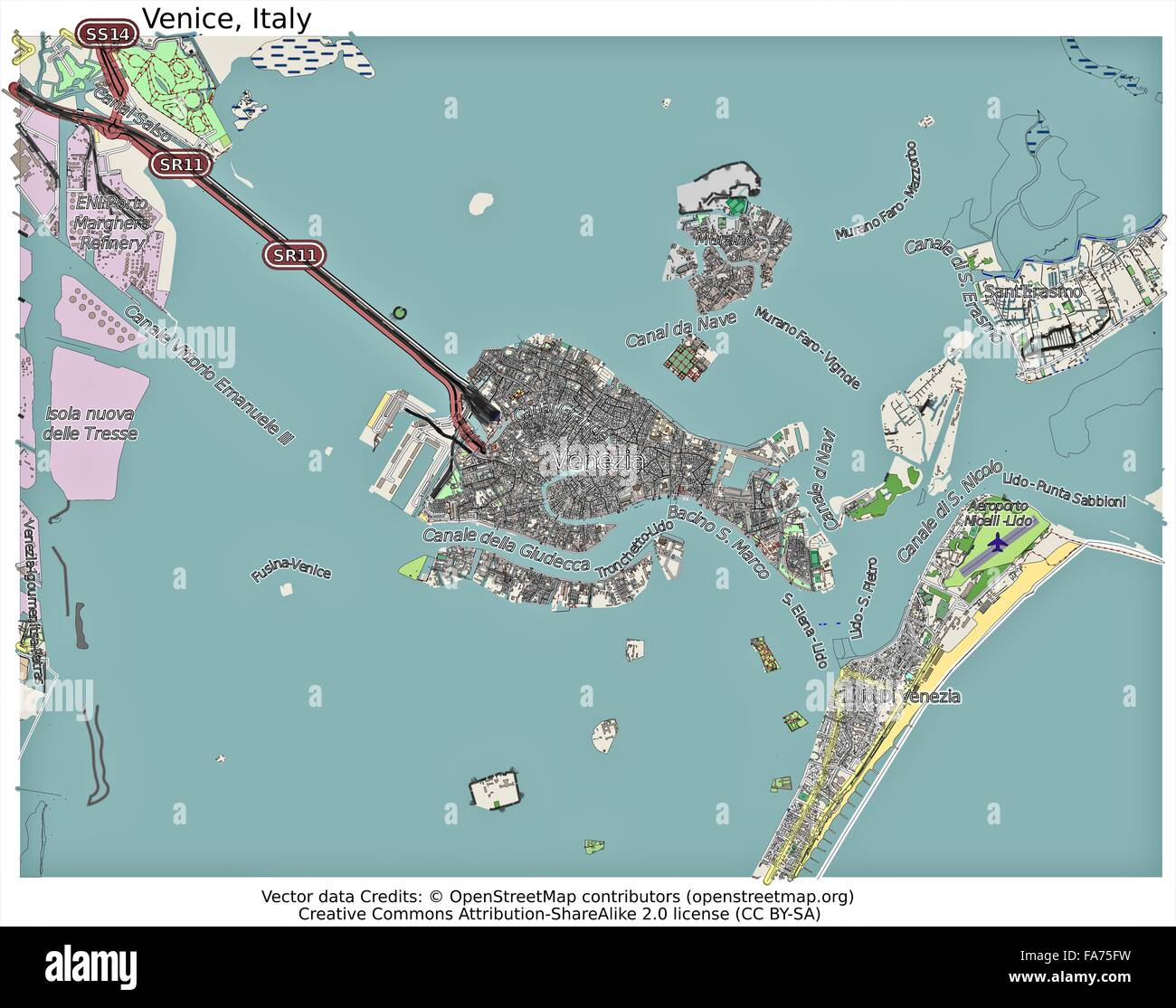 Venice Italy location map Stock Photo Royalty Free Image 92356429