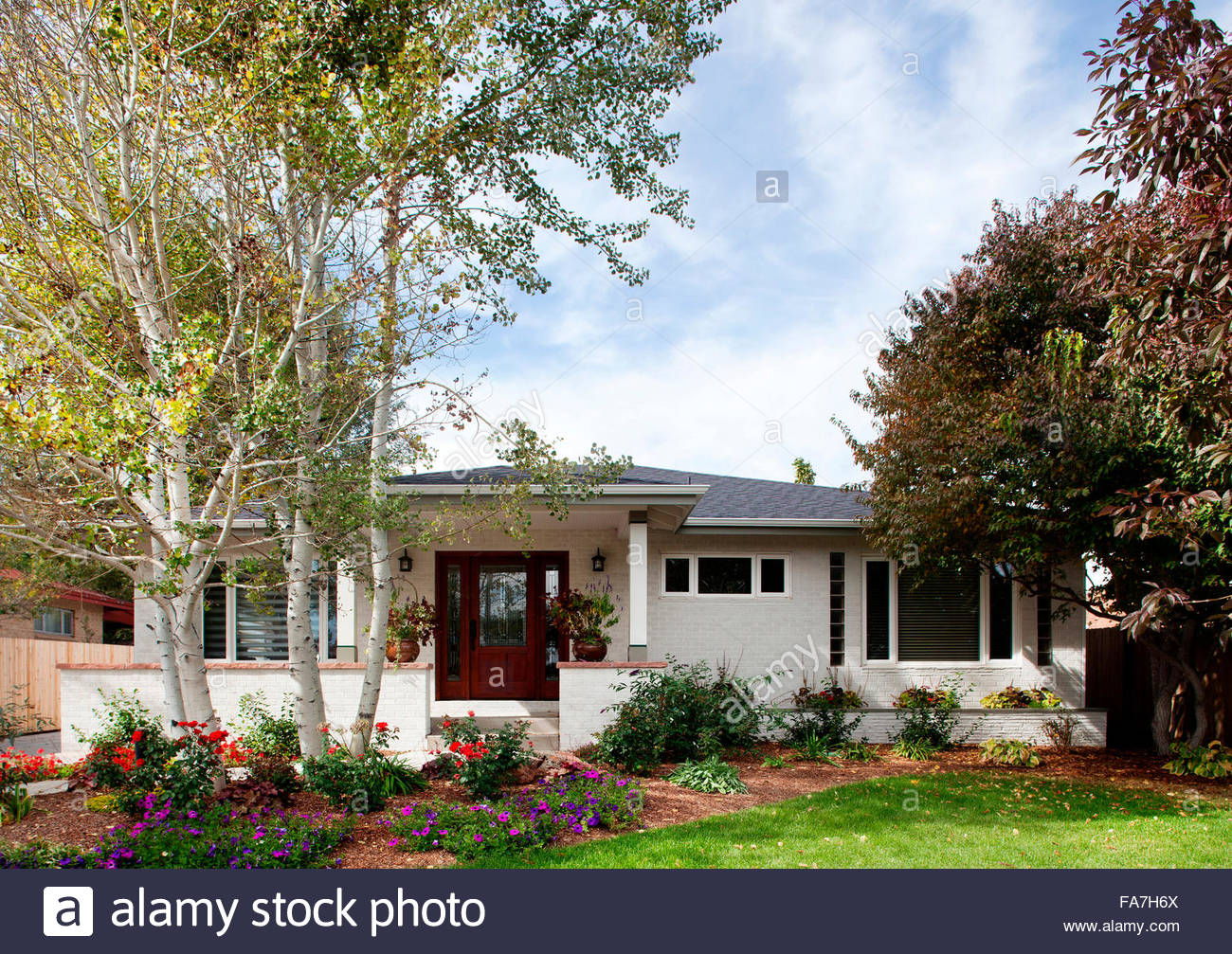 exterior of white brick one story house with aspen trees in