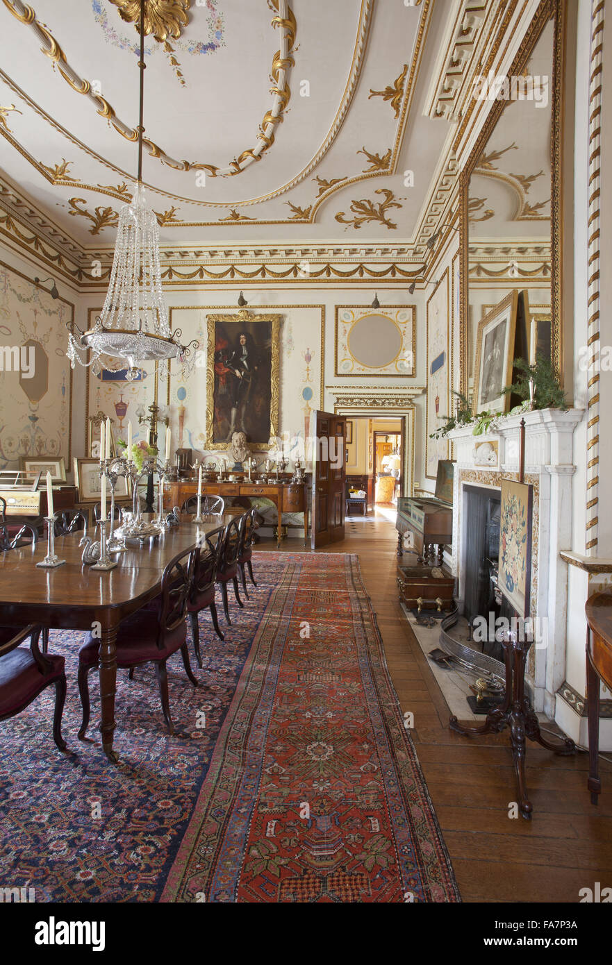 the dining room at hatchlands park, surrey stock photo, royalty