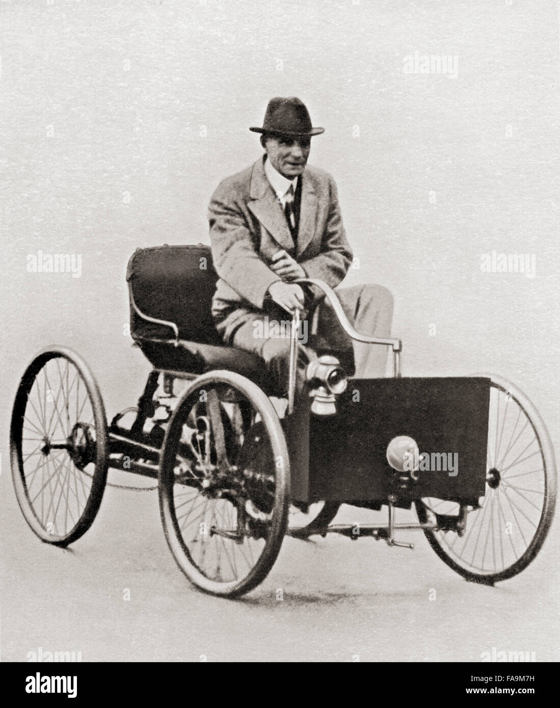 Henry Ford 1863 u2013 1947. American industrialist founder of the Ford Motor Company seen here in the first Ford car the Ford Quadricycle built in 1896. & Henry Ford 1863 u2013 1947. American industrialist founder of the ... markmcfarlin.com