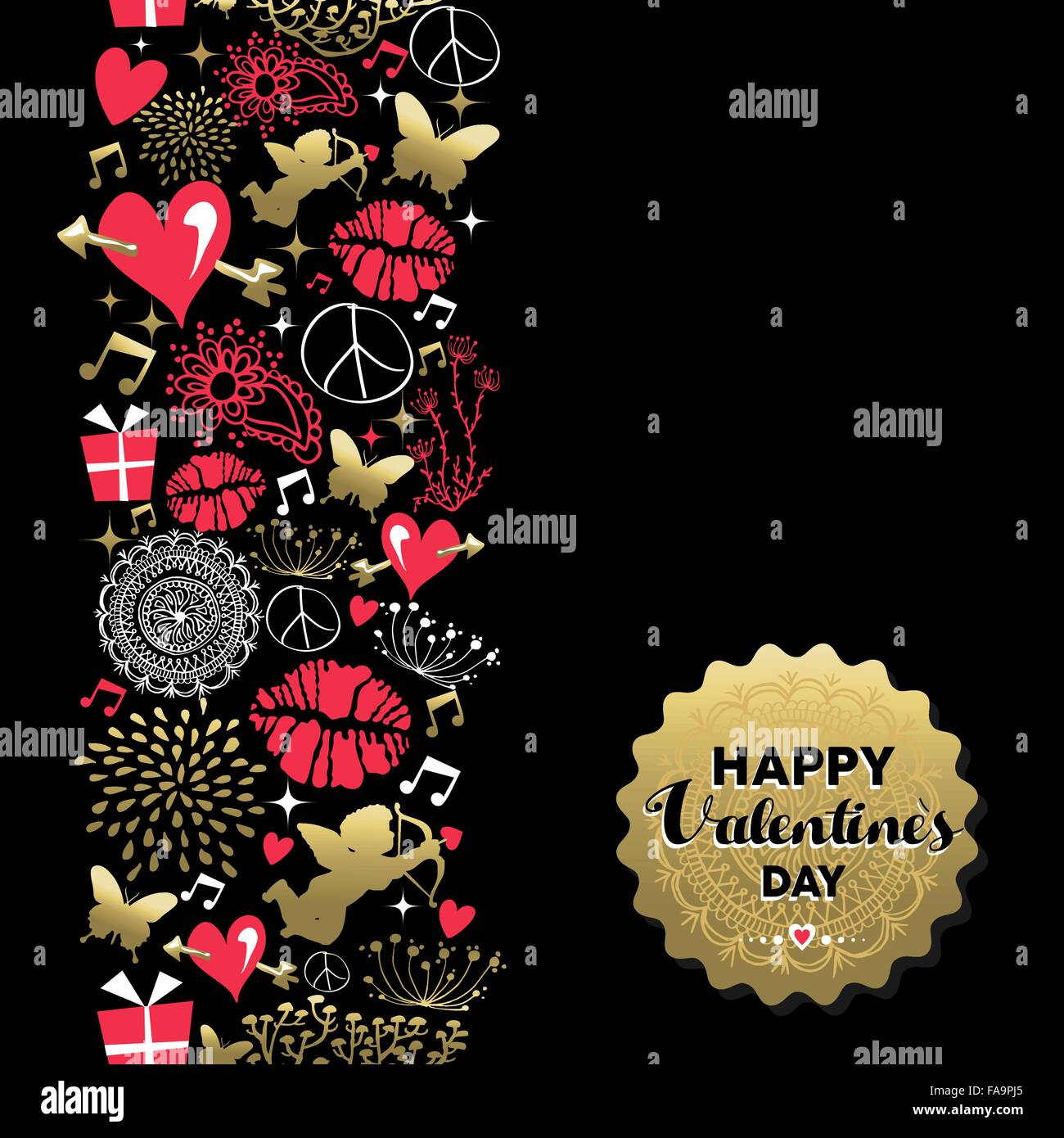 Happy valentines day retro greeting card icon pattern and gold happy valentines day retro greeting card icon pattern and gold text label includes angel heart kiss and nature silhouette kristyandbryce Images