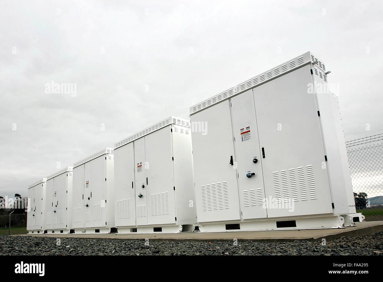 Napa, CA, USA. 23rd Dec, 2015. Napa Sanitation District Has A New, Tesla  Battery Storage Facility At Its Wastewater Treatment Plant Near The Napa  County ...