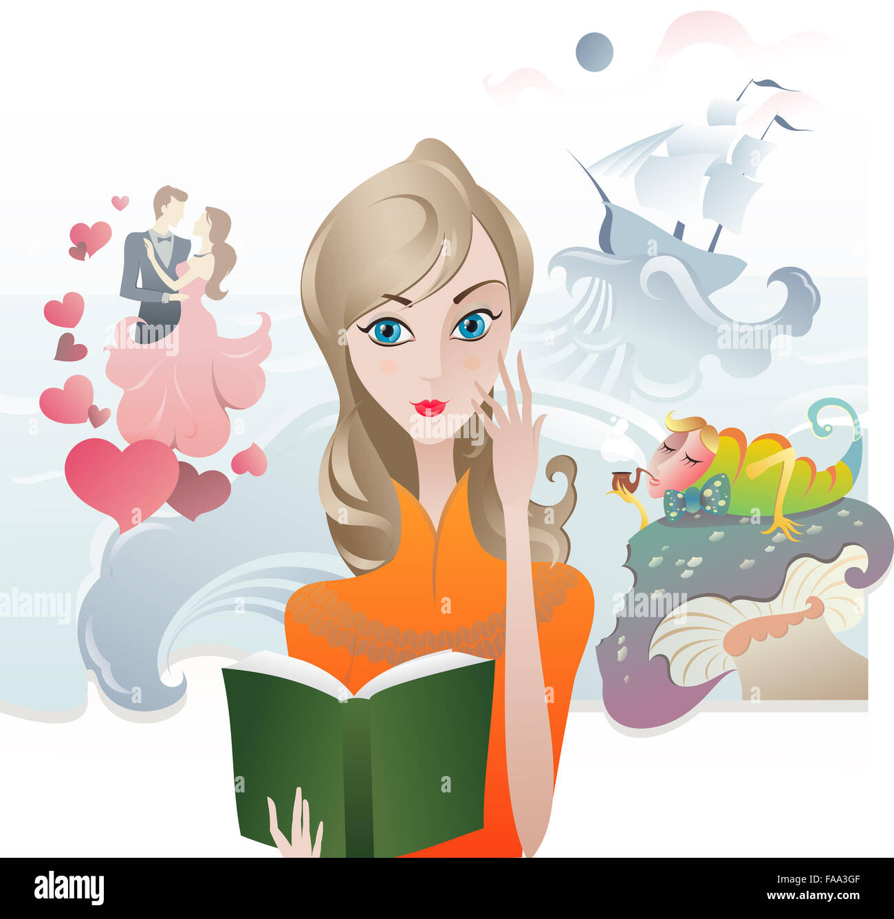 Romance Book Cover Vector ~ The vector illustration of girl with book