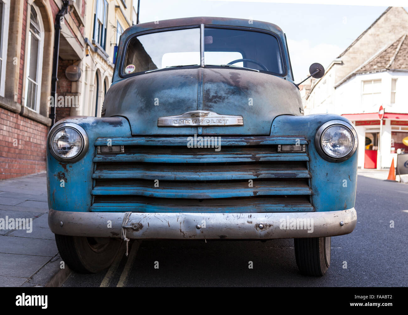Front View of a Blue 1950 Chevrolet Pickup Truck Stock Photo