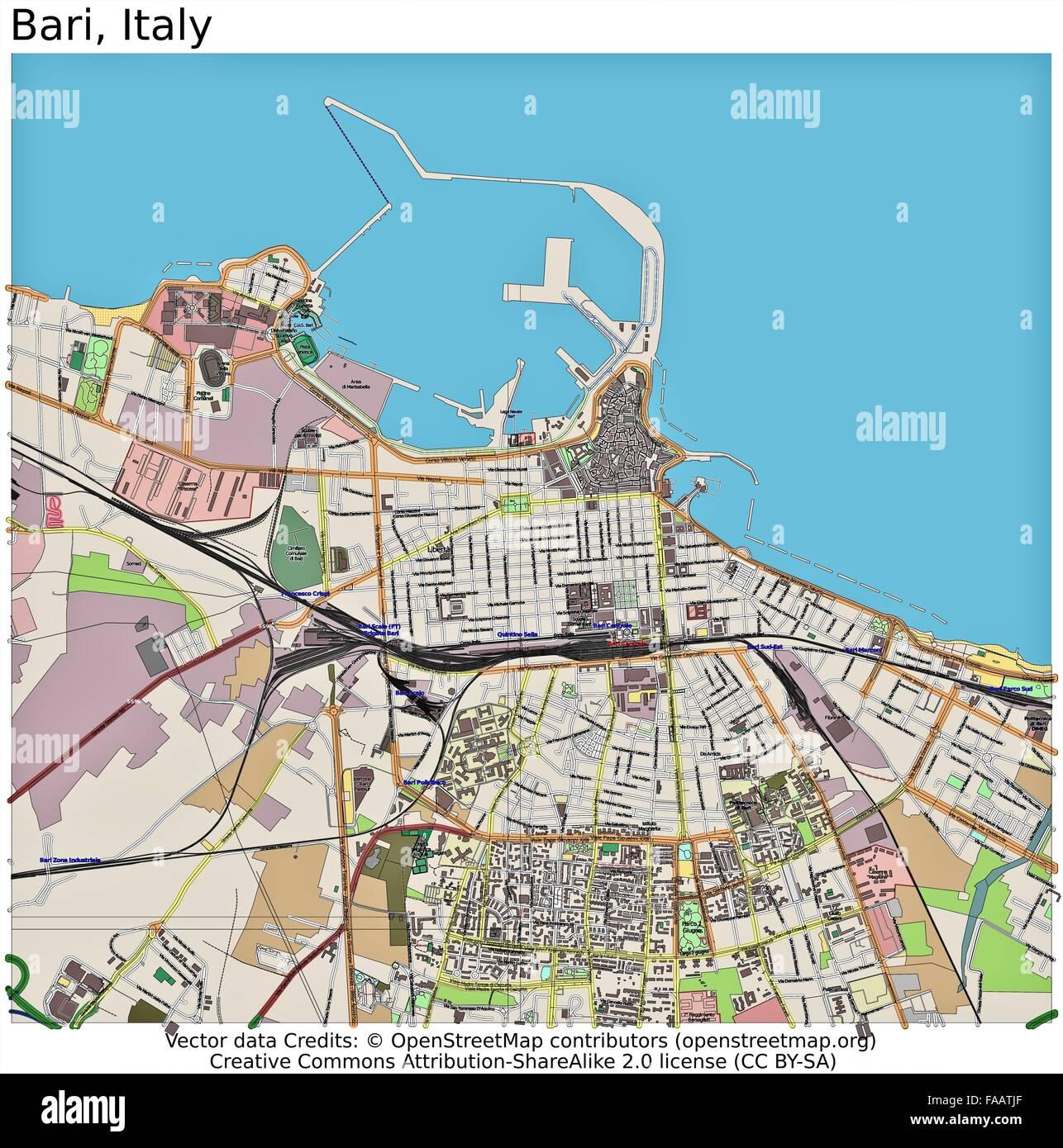 Bari Italy City Map Stock Photo Royalty Free Image Alamy - Bari map